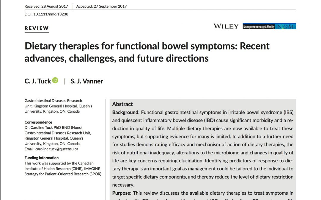 Diet Therapies for Functional Disorders