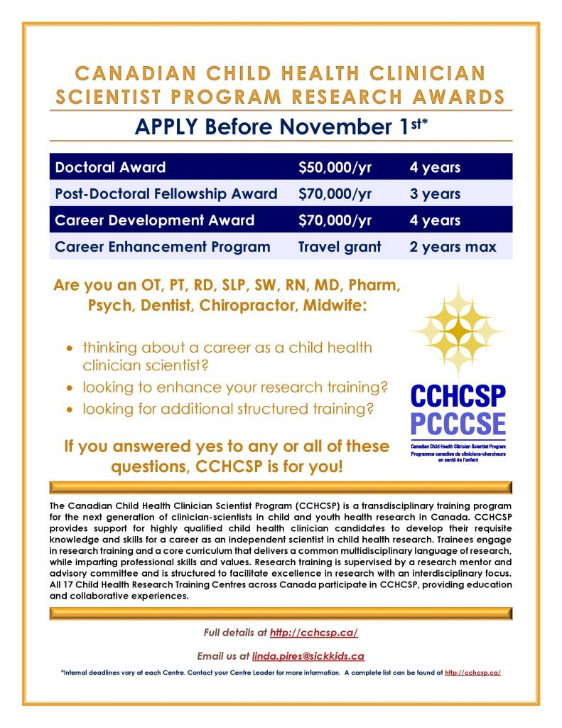 Canadian Child Health Clinician Scientist Program Research Awards