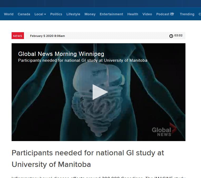 IMAGINE's Dr. Charles Bernstein on Global News