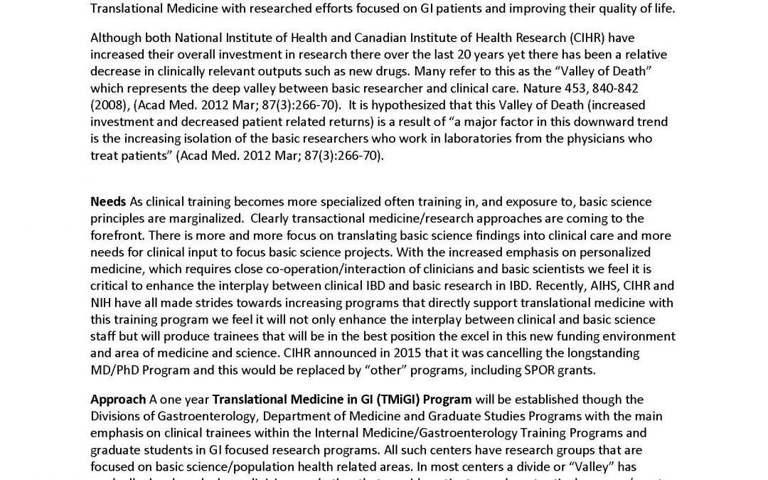 The IMAGINE-SPOR Chronic Disease Network Translational Medicine in Gastroenterology (TMiGI) Program