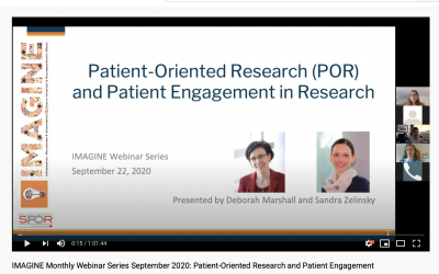 IMAGINE Monthly Webinar Series: September 2020 Patient-Oriented Research and Patient Engagement in Research